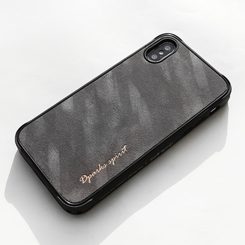 ROUGH VELVET SIMPLE LOGO LEATHER COVER - 다크그레이